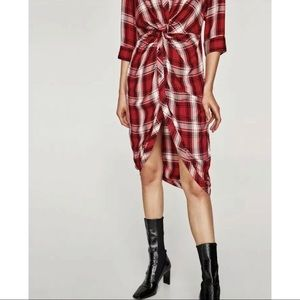 Zara Plaid Knotted Dress
